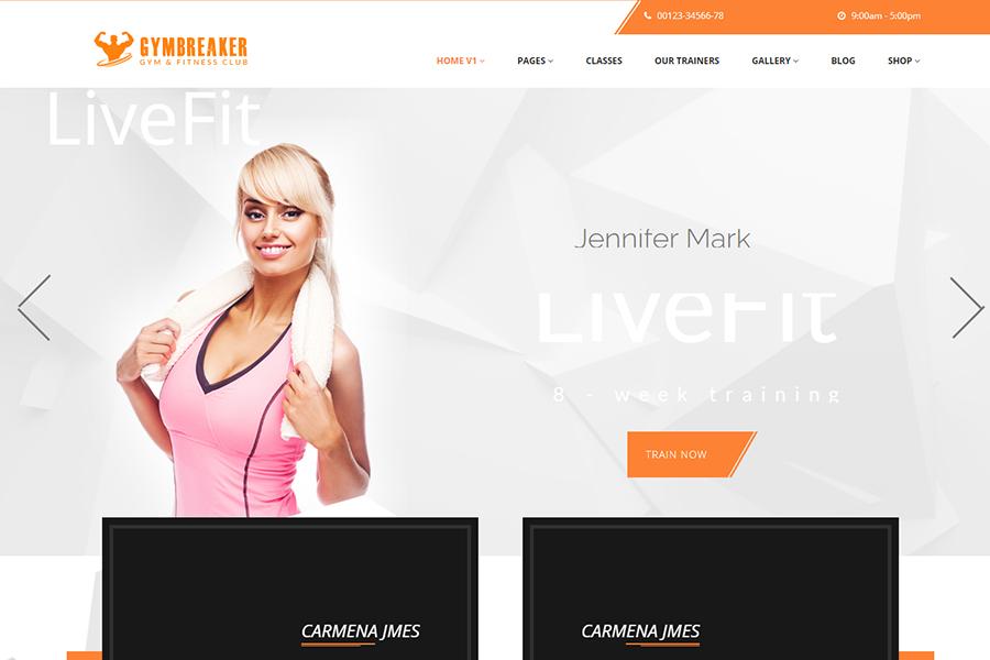 Gym fitness gym yoga, boxing WordPress Theme RTL