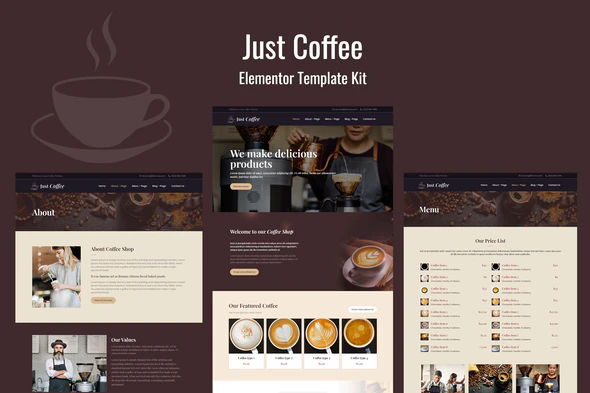 Justcoffee - Cafe and Coffee Elementor Template Kit